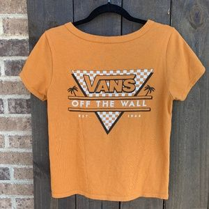 Vans Off The Wall Orange Cropped Graphic T Small